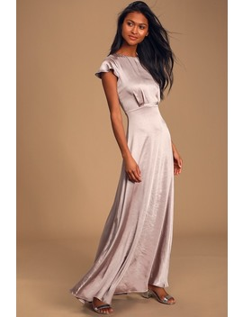 Moments Like This Dusty Lavender Satin Short Sleeve Maxi Dress by Lulus
