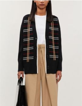 Checked Wool Blend Cardigan by Maje