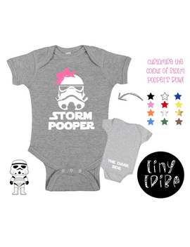 Storm Pooper Star Wars Baby Bodysuit With Bow/Storm Pooper Girl/The Dark Side Star Wars Bodysuit/Storm Trooper/The Empire Strikes Back by Etsy