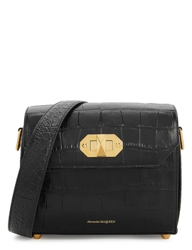 Box 21.5 Black Leather Shoulder Bag by Alexander Mc Queen