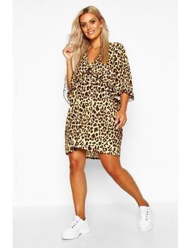 Plus Leopard Ruffle Plunge Woven Shift Dress by Boohoo