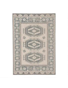 Light Teal And Gray Medallion Lima Indoor Outdoor Rug by World Market