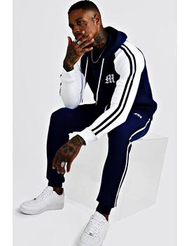 'm' Embroidered Colour Block Tape Tracksuit by Boohoo