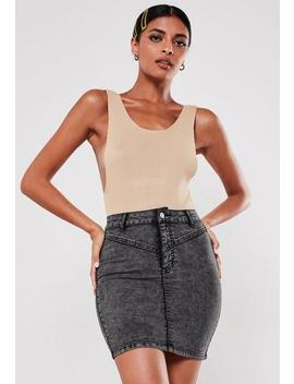 Black Superstretch Yoke Front Denim Mini Skirt by Missguided