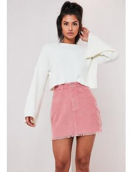 Pink Cord Distressed Hem Mini Skirt by Missguided