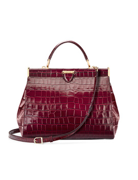 Florence Large Frame Bag In Bordeaux Croc by Aspinal Of London