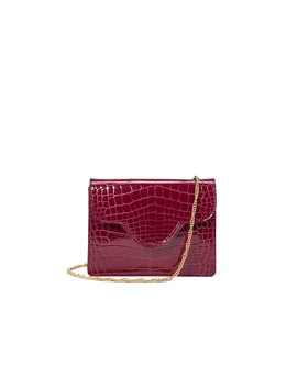 Ava Bag Small Bordeaux Patent Croc by Aspinal Of London