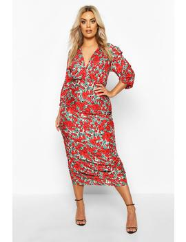 Plus Woven Large Floral Rose Ruched Wrap Dress by Boohoo