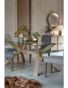 Oak And Glass Rectangle Dining Table by Next
