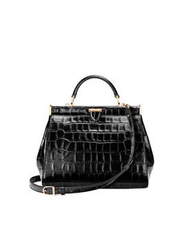 Florence Small Frame Bag Black Croc by Aspinal Of London