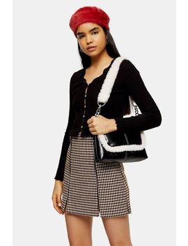 Black Long Sleeve Ribbed Lace Trim Cardigan by Topshop