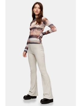 Oat Ribbed Flare Pants by Topshop