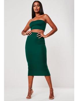 Green Bandeau And Bodycon Midi Skirt Co Ord Set by Missguided
