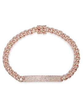 Womens 1.49 Ct 14 K Rose Gold Diamond Pave Rope Link Cuban Chain Id Bar Bracelet by Ebay Seller
