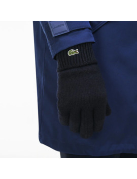 Men's Ribbed Wool Gloves by Lacoste
