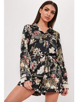Green Leopard Floral Satin Pyjama Set by Missguided