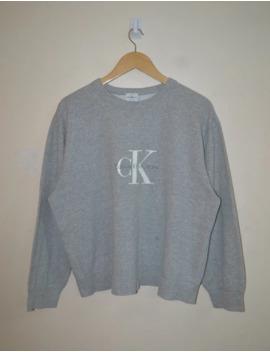 Vintage 90s Calvin Klein Jeans Logo Grey Sweashirt by Calvin Klein  ×