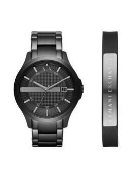 Armani Exchange Men's Black Bracelet Watch And Leather Cuff341/3553 by Argos