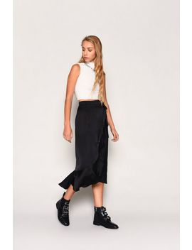 **Black Satin Wrap Skirt By Glamorous by Topshop