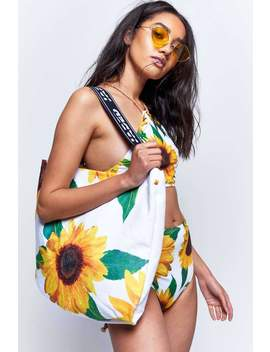 Sunflower Print 2 In 1 Towel Bag by Jaded London