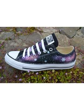 Snowflake Galaxy Low Tops, Frozen Shoes, Galaxy Converse, Snowflake Shoes, Snowflake Sneakers, Nebula Converse, Milky Way, Custom Sneakers by Etsy
