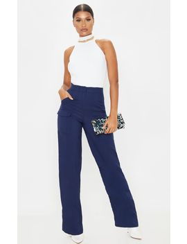 Navy Straight Leg Pocket Pants by Prettylittlething