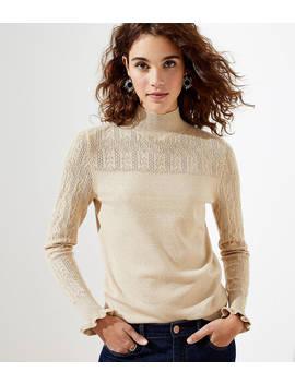 Shimmer Ruffle Pointelle Sweater by Loft
