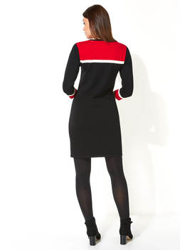 Colour Block Knitted Dress Colour Block Knitted Dress by Roman Originals