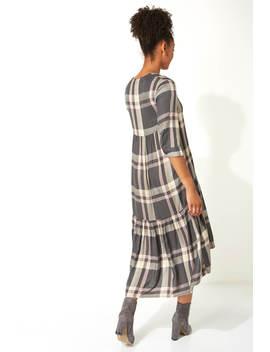 V Neck Check Print Tiered Dress V Neck Check Print Tiered Dress by Roman Originals