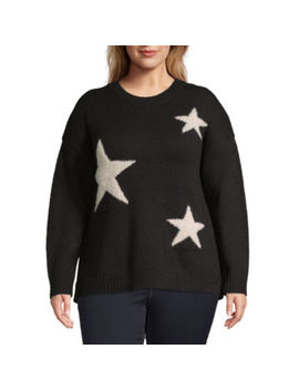 A.N.A Plus Womens Crew Neck Long Sleeve Star Pullover Sweater by A.N.A