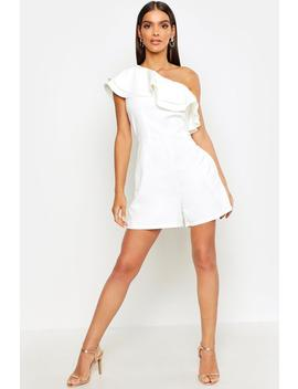 One Shoulder Frill Romper by Boohoo