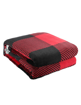 "Better Homes & Garden Faux Fur Throw Blanket, 50"" X 60\"", Red Buffalo Plaid by Better Homes & Gardens"