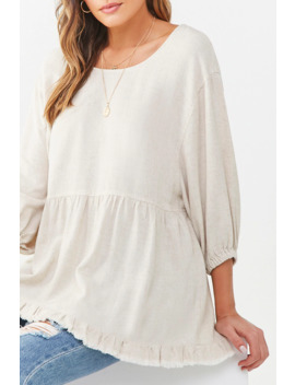 Frayed Linen Blend Peasant Tunic by Forever 21