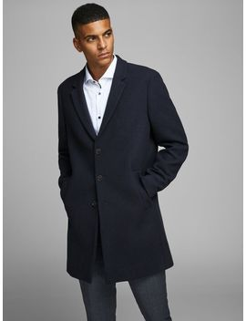 Wool Coat Wool Coat  Cutaway Collar Shirt  Slim Fit Suit Trousers  Faux Leather Sneakers by Jack & Jones
