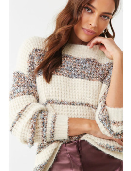 Ribbed Tinsel Trim Sweater by Forever 21