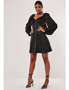 Tall Black Satin Milkmaid Skater Dress by Missguided