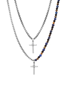 Double Layer Cross Pendant Necklace by Ben Sherman