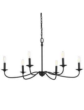 Pacolet 6 Light Textured Black Chandelier by Progress Lighting