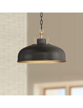 "Possini Euro Camden 15 3/4""W Black And Warm Brass Pendant by Lamps Plus"
