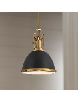 "Memphis 9 3/4"" Wide Black And Burnished Brass Mini Pendant by Lamps Plus"