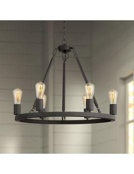 """Daniel 24 1/2"""" Wide Matte Black 6 Light Chandelier by Lamps Plus"""