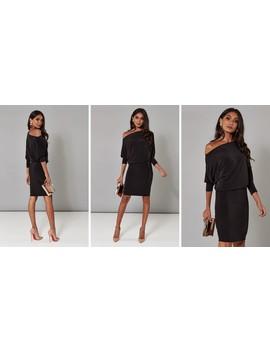 Black Batwing Off The Shoulder Dress by Pleat Boutique
