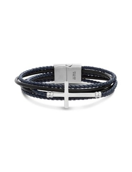 Cross Multistrand Leather Bracelet by Ben Sherman