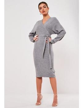 Grey Wrap Knitted Midi Dress by Missguided
