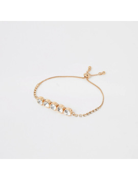 Gold Colour Diamante Jewel Bracelet by River Island