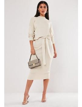 Cream Co Ord Tie Waist Knitted Midi Skirt by Missguided