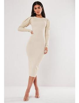 Stone Puff Sleeve Knitted Midaxi Dress by Missguided
