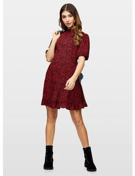 Red High Neck Smock Dress by Miss Selfridge