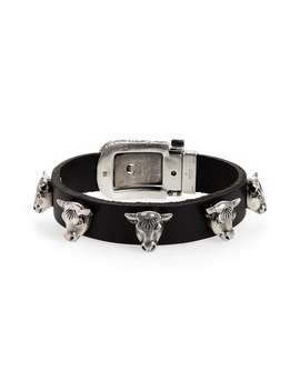 Sterling Silver Stud Leather Bracelet by Gucci