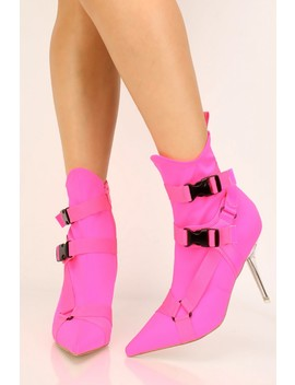 Hot Pink Lycra Pointy Toe Booties by Ami Clubwear